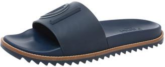 Fendi Blue Rubber Embossed Logo Slide Sandals Size 42
