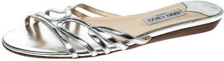 Jimmy Choo Metallic Silver Leather Cut Out Flat Slides 41