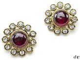 Chanel Crystal Red Gripoix Clip On Earrings
