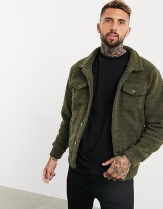 Soul Star check borg oversized trucker jacket in khaki