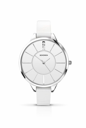 Sekonda Women's Quartz Watch with White Dial Analogue Display and White PU Strap 4219.27