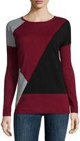 Liz Claiborne Long-Sleeve Colorblock Sweater
