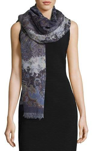 Sabira Maverick in Milan Wool Paisley Shawl, Navy