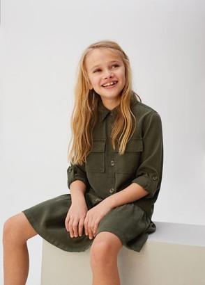 MANGO Lyocell 100% ruffled shirt dress khaki - 7 - Kids