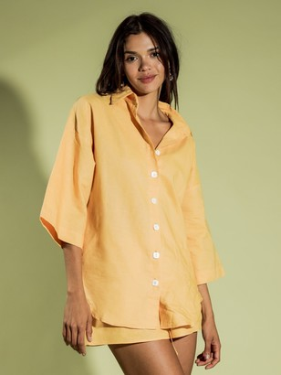 Charlie Holiday Harlow Oversized Shirt in Buttermilk