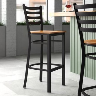 "Latitude Run Trixie 31"" Bar Stool Seat Color: Black Vinyl, Frame Color: Black, Pack Size: 1"
