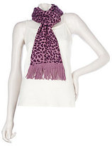 As Is Amiee Lynn Leopard Print Acrylic Knit Scarf with Fringe