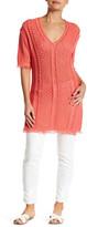 Minnie Rose Open-Knit Tunic Dress