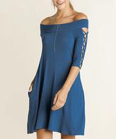 Blu Heaven Teal Crisscross-Sleeve Off-Shoulder Dress