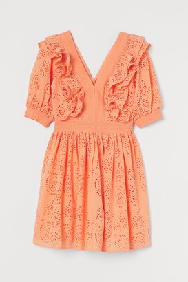 H&M Eyelet Embroidered Dress - Orange