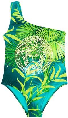Versace Foliage-Print One-Shoulder Swimsuit