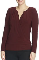 Chaus Long Sleeve Banded Wrap Top