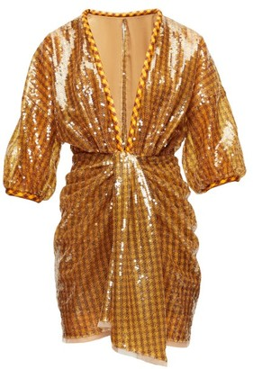 Fendi Sequinned Plunge-neck Mini Dress - Brown Print