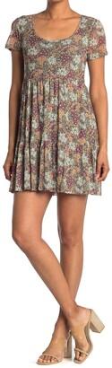 Spirit Of Grace Floral Short Sleeve Babydoll Dress