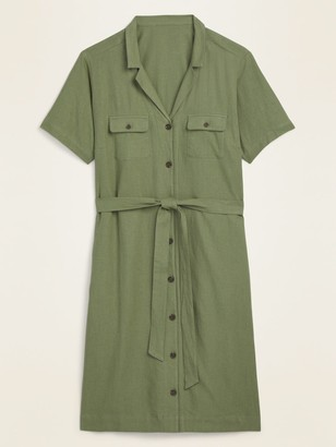 Old Navy Linen-Blend No-Peek Tie-Belt Plus-Size Shirt Dress