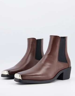 ASOS DESIGN Cuban heel western chelsea boots in brown faux leather with square toe with metal cap