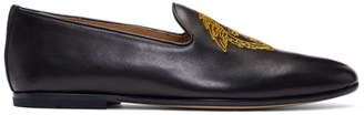 Versace Black Embroidered Medusa Loafers