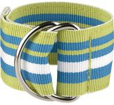 Crate & Barrel Chatham Green Stripe Napkin Ring