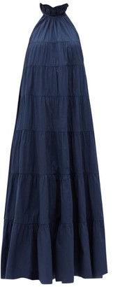 Rhode Resort Julia Ruffled Cotton-poplin Dress - Navy