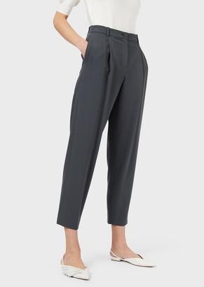 Emporio Armani Trousers In Grain De Poudre Wool Blend