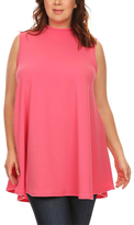 Pink Mock Neck Shift Dress - Plus