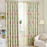 """LELVA Owl Curtain Kids Room Curtains Windows Drapes Decorative Curtain Thermal Insulated Blackout Panels Set of 2 (W42"""" X L84"""", Green)"""