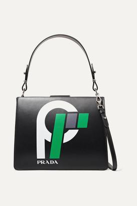 Prada Frame Printed Leather Shoulder Bag - Black