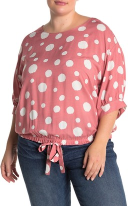 MelloDay Polka Dot Elbow Sleeve Blouse (Plus Size)