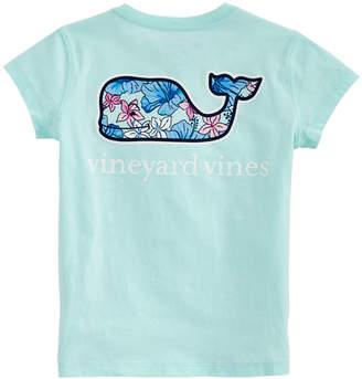 Vineyard Vines Girls Hibiscus Floral Whale Fill Short-Sleeve Pocket Tee