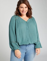 Lane Bryant Button-Front Peasant Top