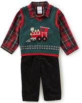 Starting Out Baby Boys 3-24 Months Plaid Button-Down Shirt, Train Vest & Pants 3-Piece Set