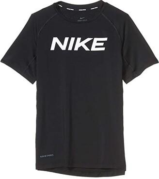 Nike Kids Pro Short Sleeve Fitted Top (Big Kids) (Black/White) Boy's T Shirt