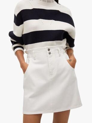 MANGO Elasticated Denim Mini Skirt, White