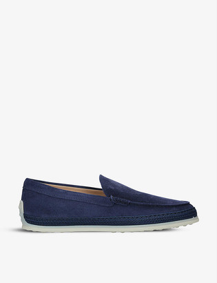 Tod's Raffia-midsole suede loafers