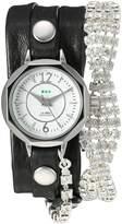 La Mer Women's Quartz Silver-Tone and Leather Watch, Color:Black