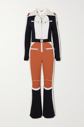 Chloé + Fusalp Belted Ribbed Knit-trimmed Paneled Ski Suit - Orange