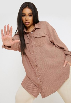 Missguided Size Peach Houndstooth Oversized Shirt