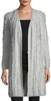 Neiman Marcus Cashmere Open-Front Fringed Cardigan Sweater