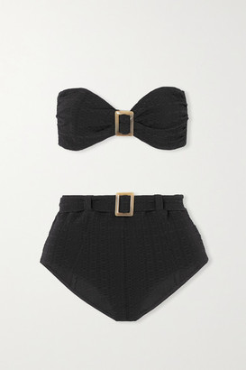 Lisa Marie Fernandez Net Sustain Embellished Belted Seersucker Bikini - Black
