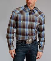 Stetson Bronze & Blue Plaid Button-Up Shirt - Men & Big