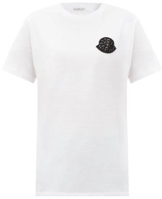 Moncler Crystal-embellished Logo-patch Cotton T-shirt - White Black