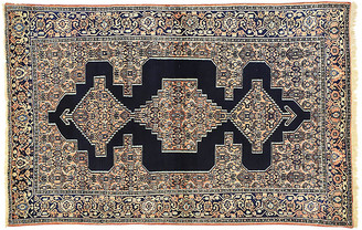 "One Kings Lane Vintage Antique Persian Senneh Rug - 4'4"" x 6'9"" - Esmaili Rugs & Antiques - salmon/peach/navy/blue"