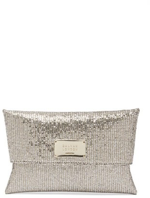 Galvan Logo-plaque Glitter-satin Clutch - Womens - Gold