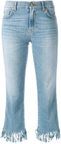 7 For All Mankind frayed cropped jeans - women - Cotton/Polyester/Spandex/Elastane - 31