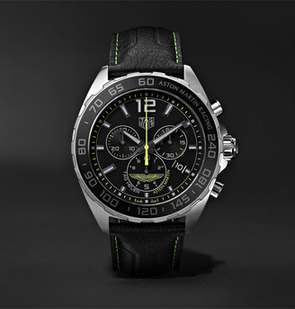 Tag Heuer Formula 1 Limited Edition Aston Martin Quartz Chronograph 43mm Stainless Steel And Leather Watch, Ref. No. Caz101p.fc8245
