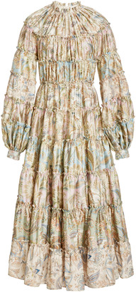 Zimmermann Ladybeetle Tiered Paisley Wool-Silk Midi Dress