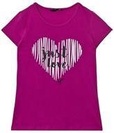 GUESS Pink Glitter Heart and Love Print Tee