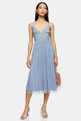 Lace & Beads Womens **Blue Embellished Midi Dress By Blue