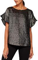 Mint Velvet Frill Sleeve Sequin T-Shirt, Taupe