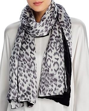 Echo Leopard Print & Velvet Oblong Scarf